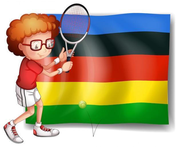 Олимпийский флаг и теннисист