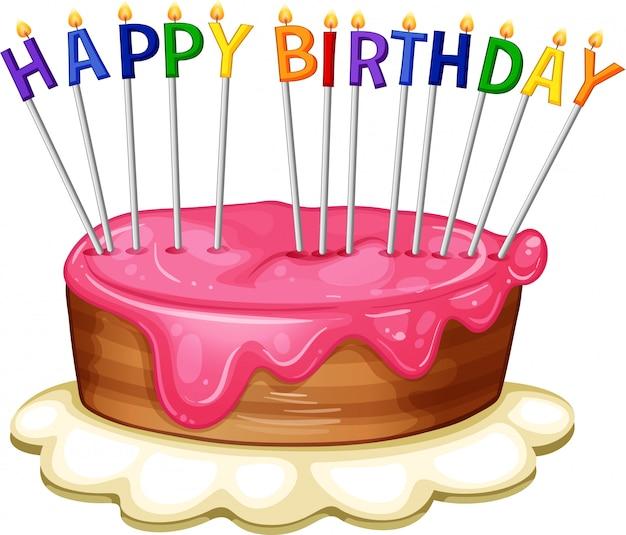 ピンクのケーキとお誕生日おめでとうカードテンプレート