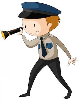 Охранник держит фонарик