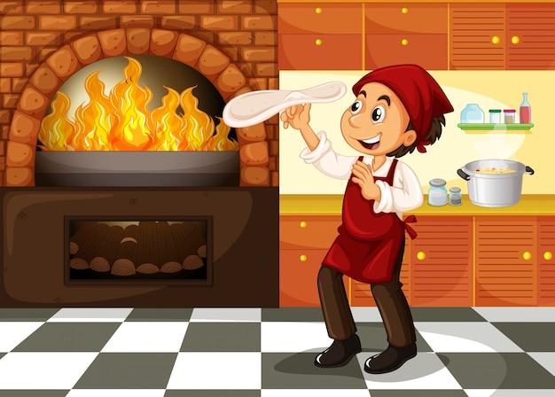 熱いストーブでピザを作るシェフ