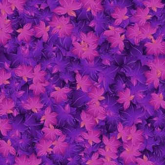Бесшовный фон с фиолетовыми листьями