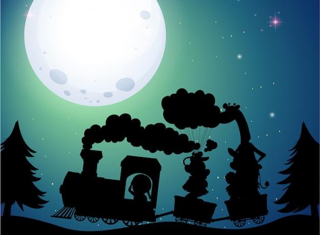 Иллюстрация поезда силуэт на ночь