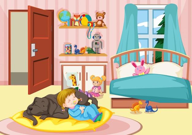 寝室で犬と一緒に寝ている女の子