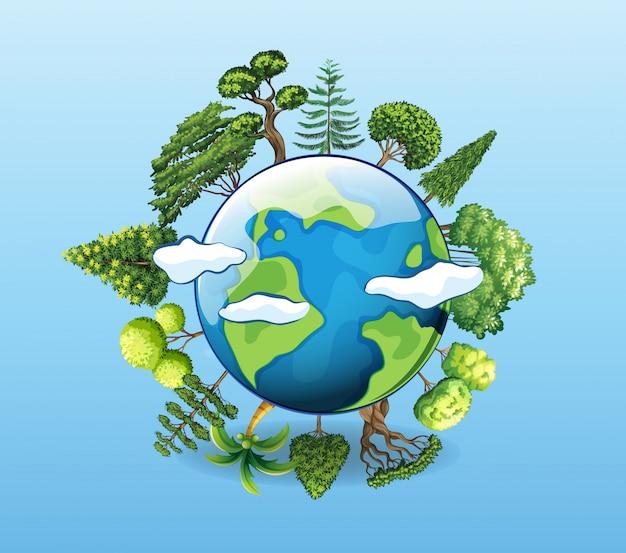 Плакат о глобальном потеплении с деревом на земле