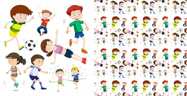 Набор бесшовных спортивных детей, изолированных объектов темы