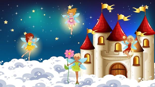 夜の城の周りを飛んで妖精