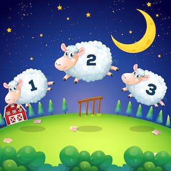 フェンスを飛び越える羊を数える