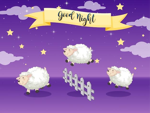 Плакат спокойной ночи с подсчетом овец