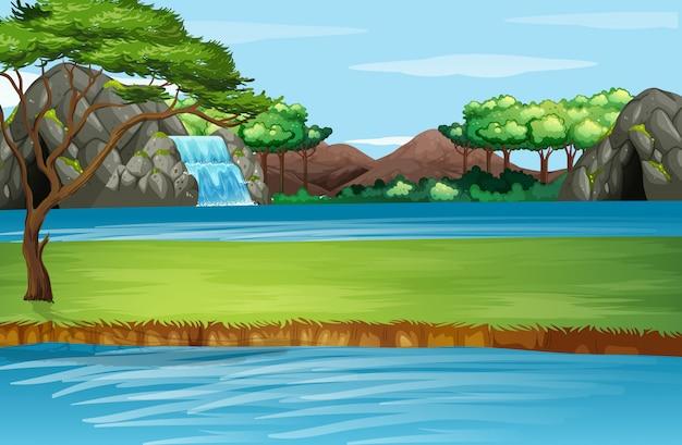 滝と川のある風景