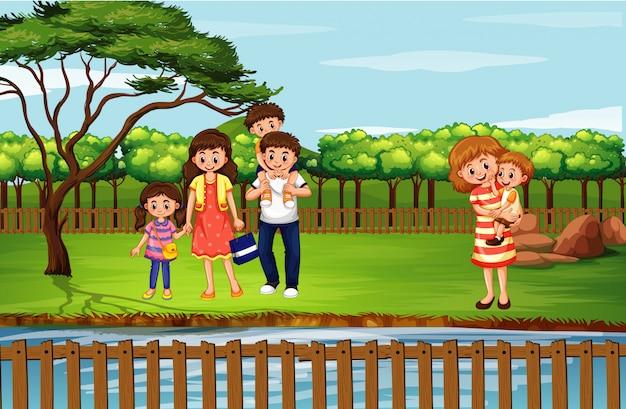 Сцена с людьми в парке