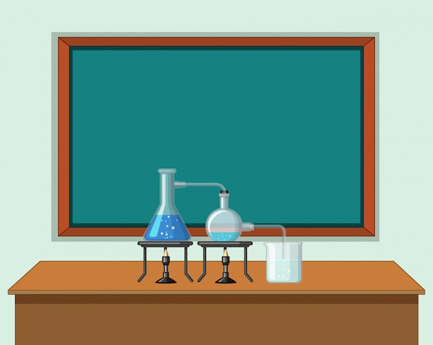 テーブルの上のツールと科学教室