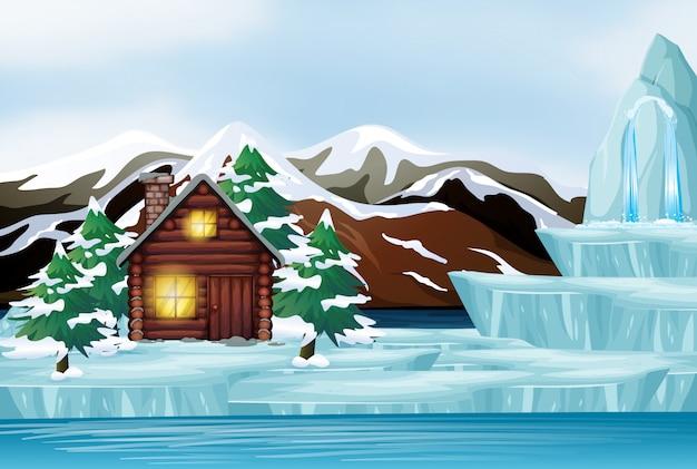 Сцена с домом в снежной горе