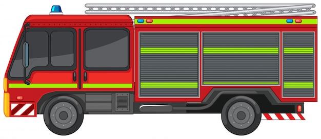 Пожарная машина на белом