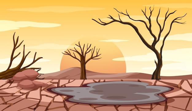 干ばつの土地での森林伐採シーン