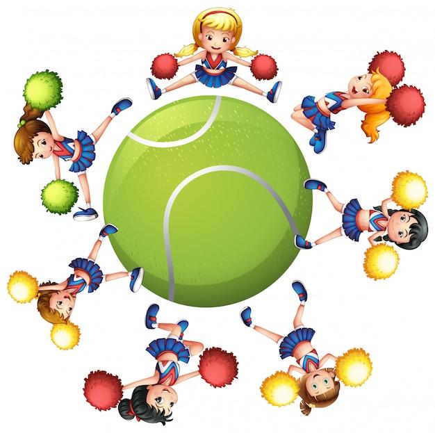 Чирлидеры танцуют вокруг теннисного мяча