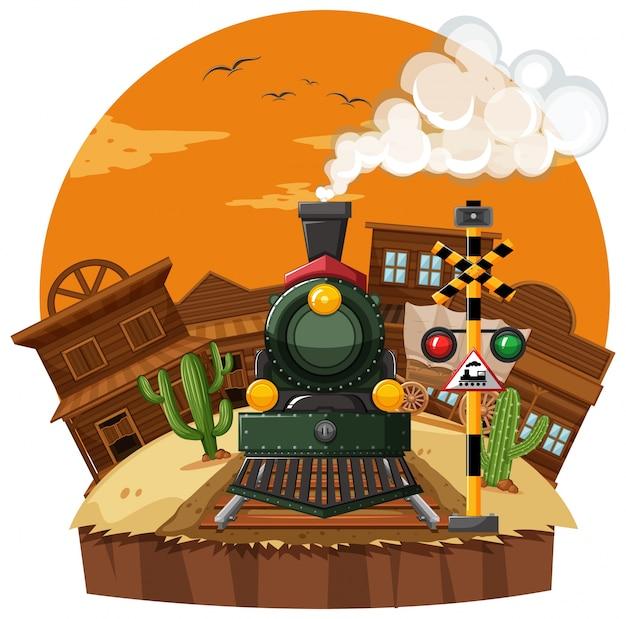 Поездка на поезде в западном городе