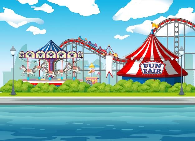 Сцена фон с цирковыми аттракционами