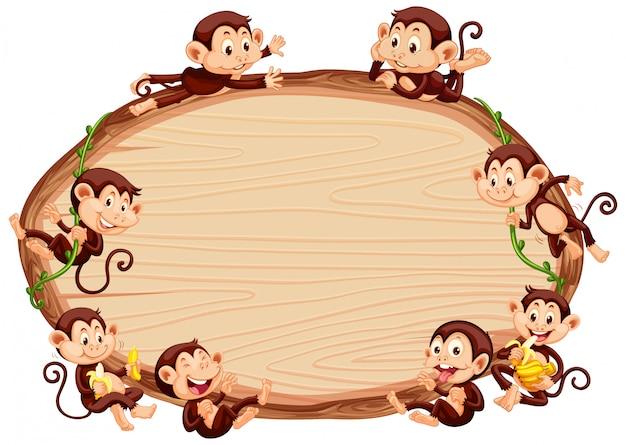 かわいい猿のボーダーテンプレート