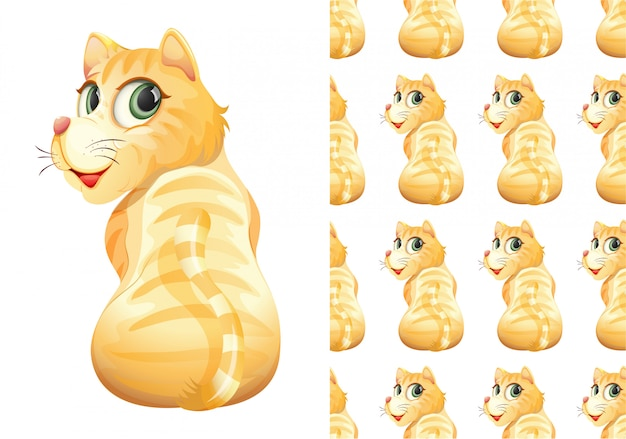 孤立した猫動物パターン漫画