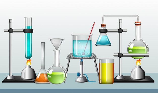 Набор научного оборудования на белом