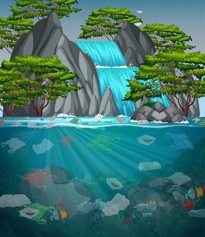 川のビニール袋による水質汚染