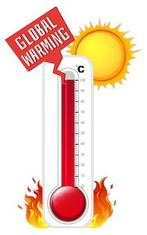 夏の天気の温度計