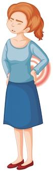 背中の痛みを持つ女性