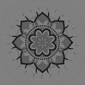 灰色の背景にマンダラパターン