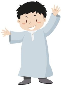 手を振っているイスラム教徒の少年