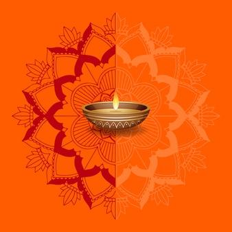 Свечи на оранжевом фоне мандалы