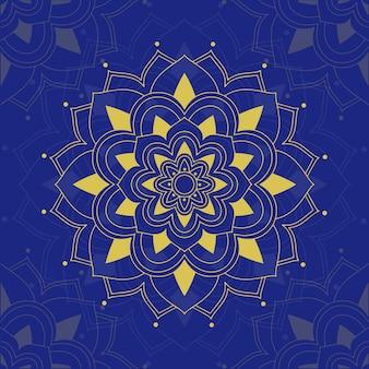 青色の背景にマンダラパターン