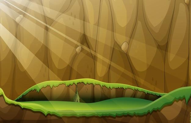崖と平野のある風景