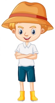 Один счастливый мальчик в коричневой шляпе и сапогах