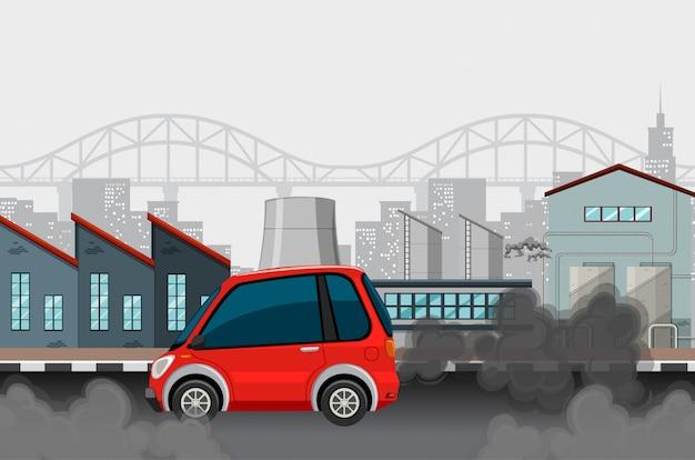 車と都市の汚れた煙