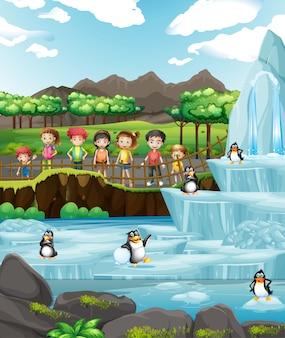 Сцена с животными и детьми в зоопарке