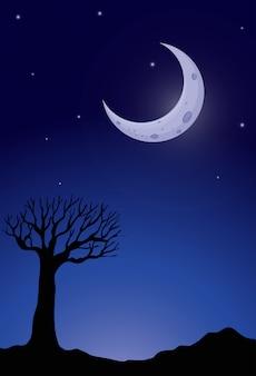 Силуэт дерева в ночное время