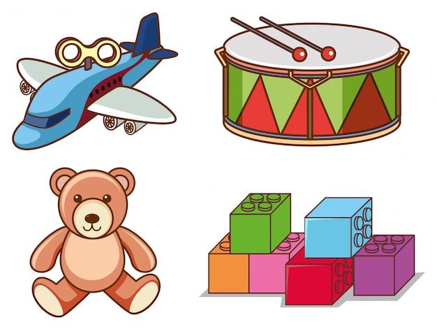 Изолированный комплект много игрушек