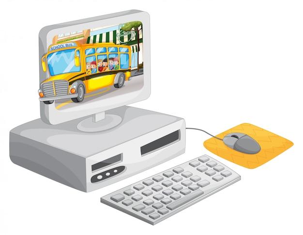 Экран компьютера с детьми на школьном автобусе
