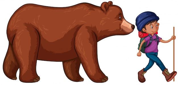 禁止のイラストは彼の後ろに大きなクマとハイキングに行く