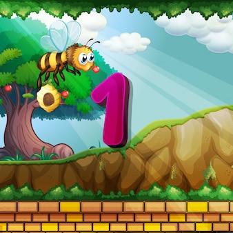 Номер один с пчелой, летящей в саду