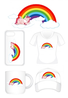 虹のユニコーンでさまざまな製品のグラフィックデザイン