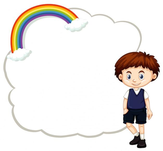 Счастливый мальчик и рамка шаблона