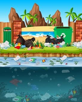 Загрязнение воды полиэтиленовыми пакетами в реке
