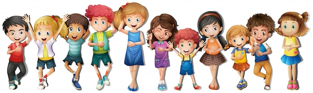 Многие дети со счастливым лицом