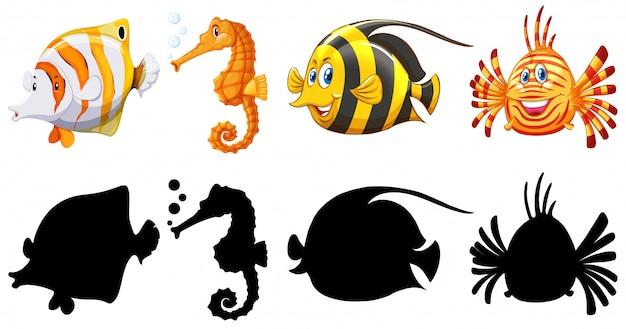 魚のシルエット、色、アウトラインバージョン