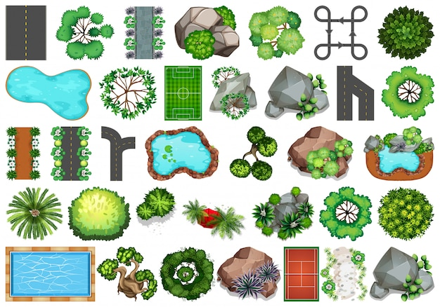 屋外の自然をテーマにしたオブジェクトと植物の要素のコレクション