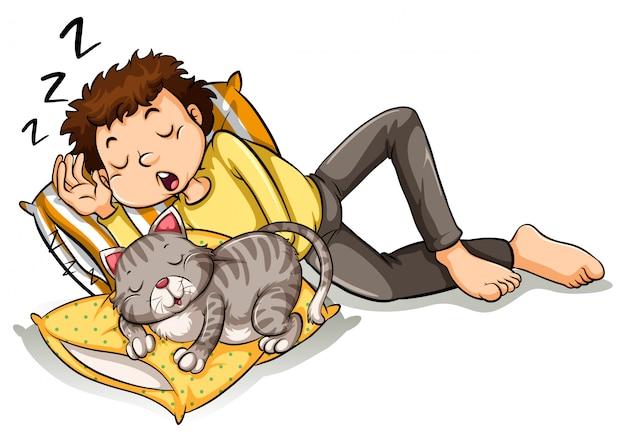 ペットの猫と昼寝をして男
