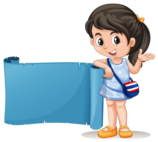 青い旗とタイの女の子