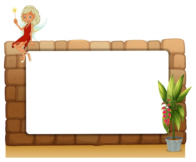 妖精と植物の鉢の壁にある空白板
