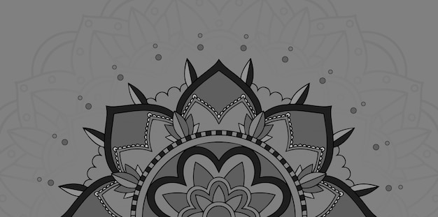 Мандала дизайн на сером фоне